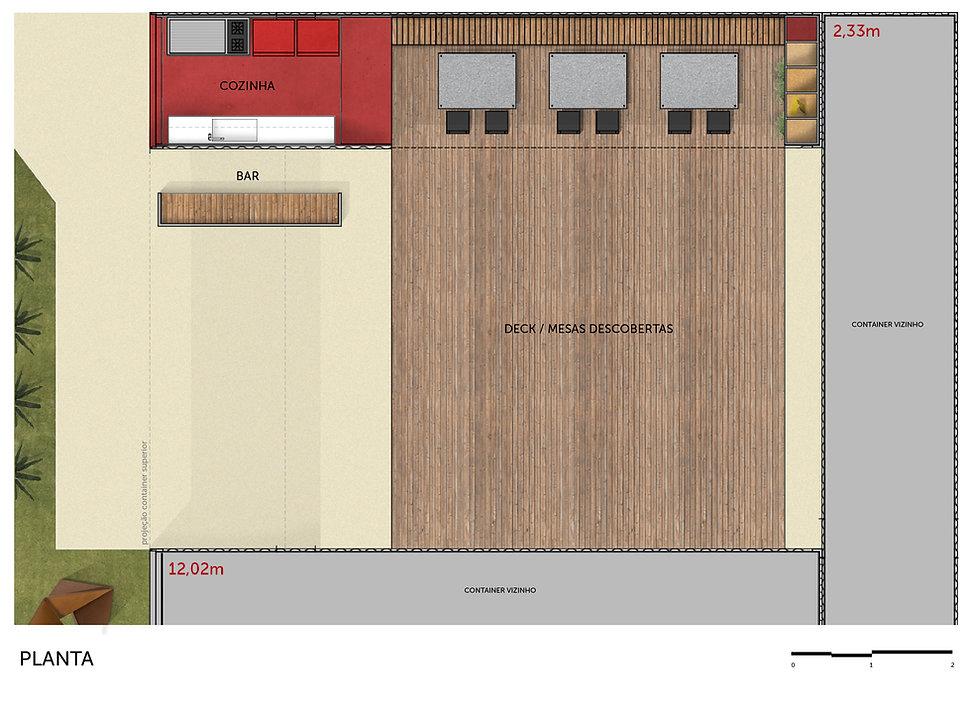 planta restaurante container da Casa Construir de 2016