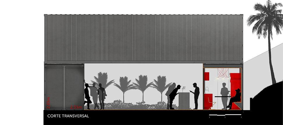 corte transversal restaurante container da Casa Construir de 2016