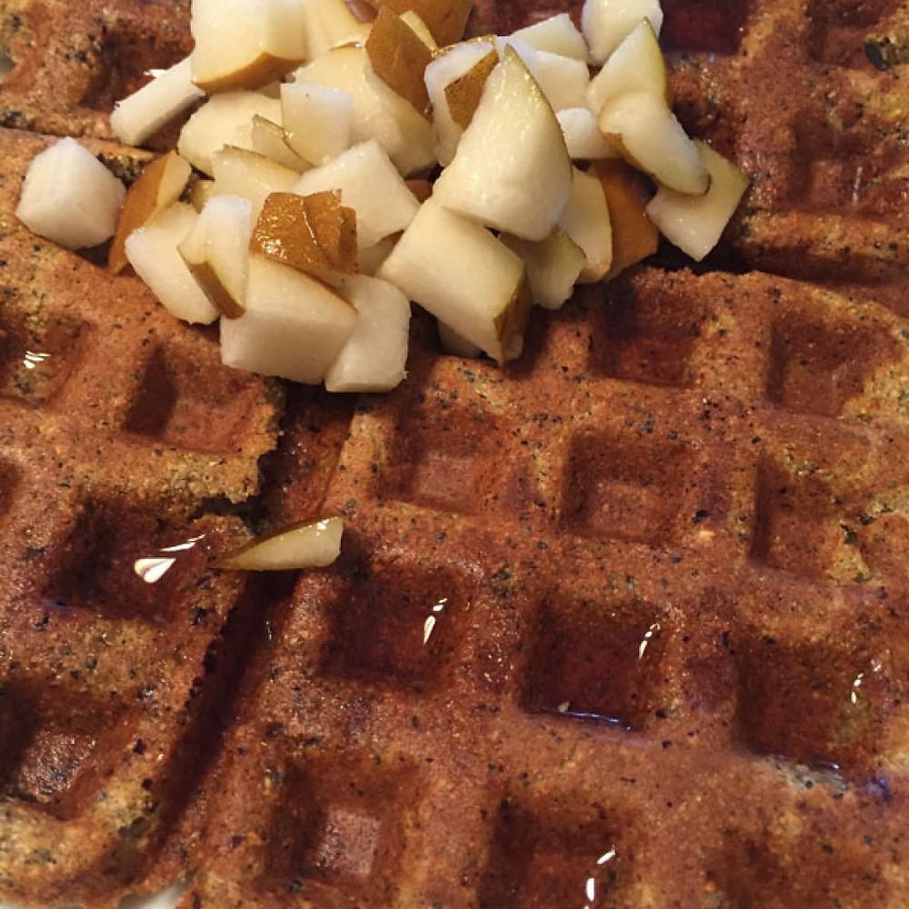 Gluten Free Lemon Poppy Seed Waffles with Pears