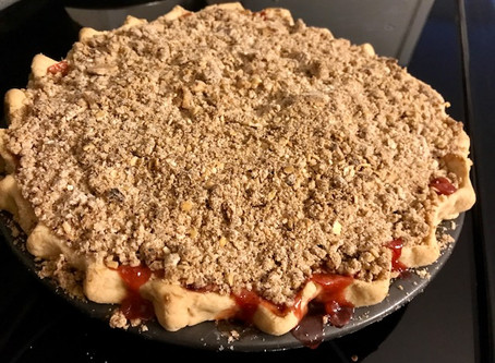 The Spice Lady's Signature Rhubarb Strawberry Crumble Pie