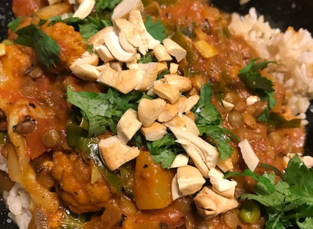 Indian Spiced French Lentil Curry with Roasted Cauliflower, Pineapple, and Greens