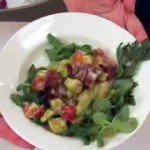 Chunky Avocado and Black Plum Salad Over Mache Rosettes
