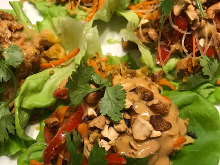 Plant Based High Protein Lettuce Wraps with Thai Peanut Sauce
