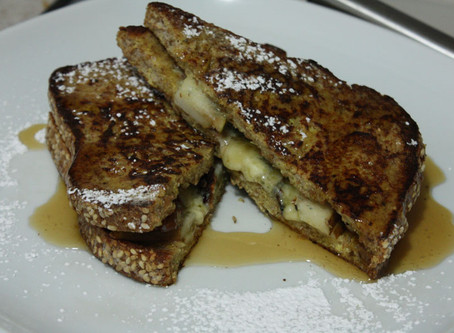 Sprouted Whole Grain Stilton n Pear Stuffed French Toast Sandwich