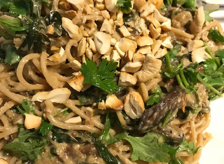 Portobello and Collard Green Pasta with Sun Dried Tomato Cashew Cream