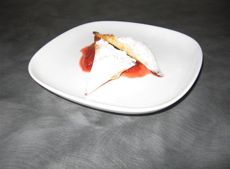 Frangipane (Almond Cream) Turnovers with Strawberry Honey Lime Dip