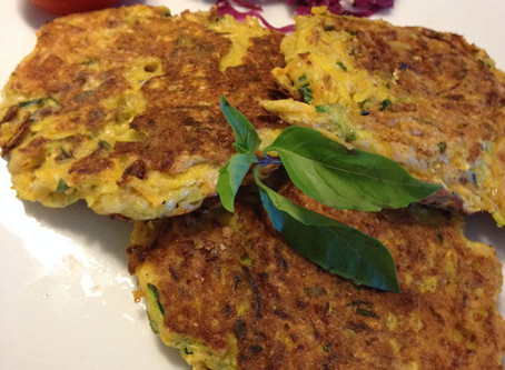 What's Fluffy Herbaceous and Delicious All Over? Squash Pancakes of Course!!