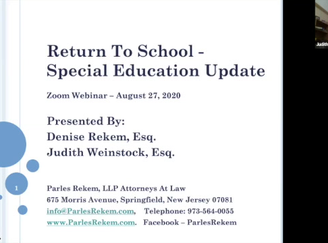 WEBINAR: Return To School - Special Education Update