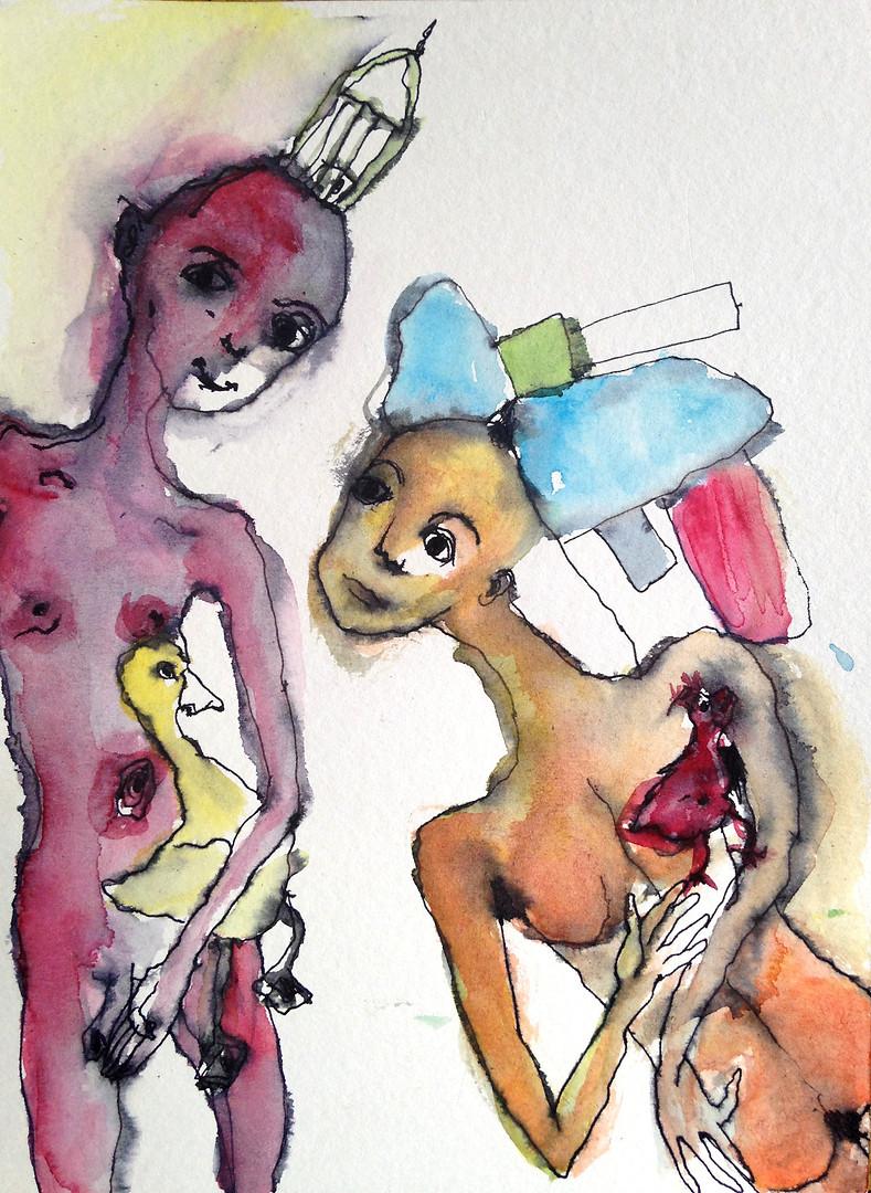 Due figure con un'oca e una gallina
