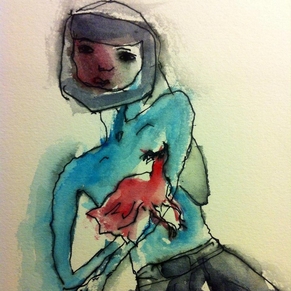 Una figura e una gallina