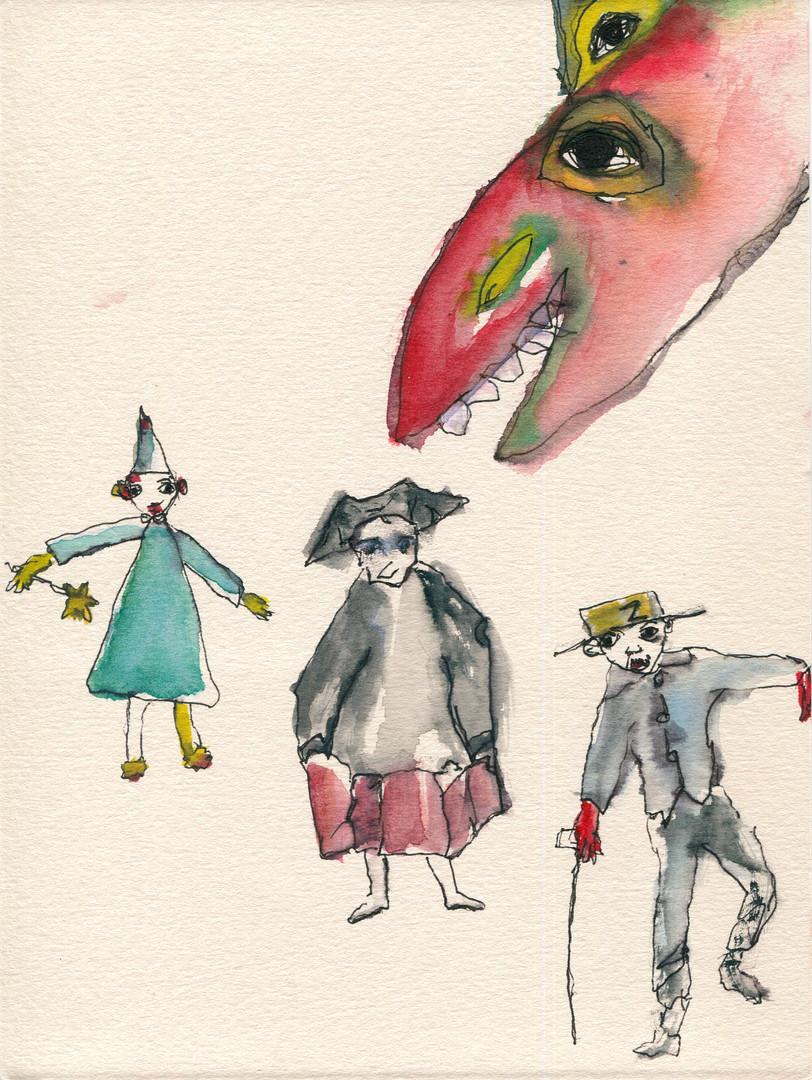 maschere e drago rosso II