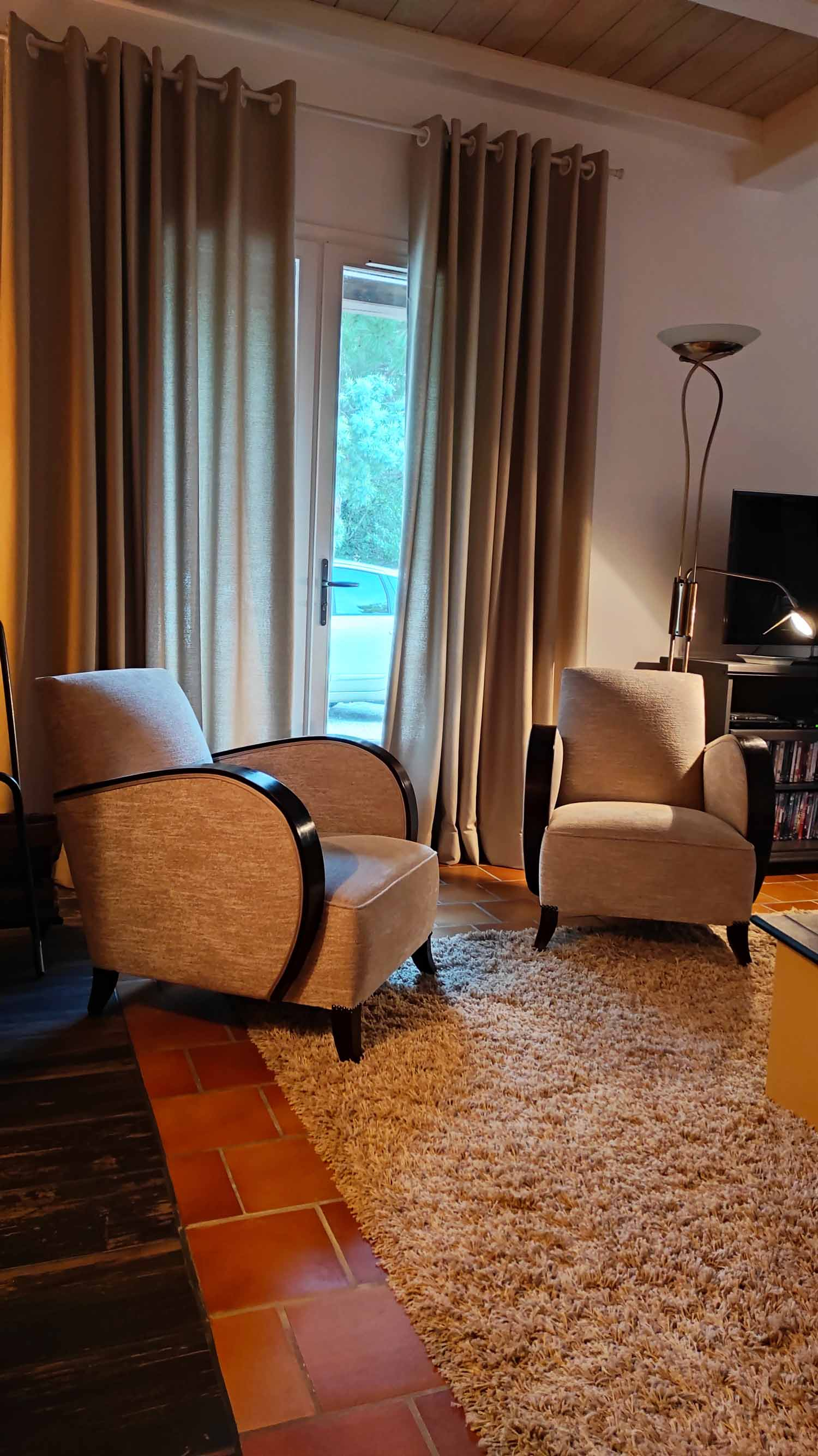 Rideaux en lin fauteuils année 40 tapissier royan