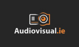 Audiovisual.ie written on a black background with a graphic of a camera above