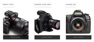 Pictures of cameras taken from Evolution Hire website
