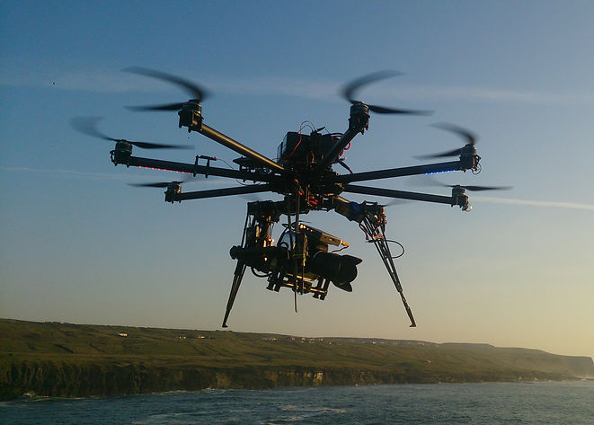 Large Drone in Flight over Cliffs of Moher