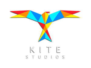Colourful graphical origami bird with kite studios text underneath