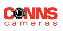 Conns Camera written in red text on white background