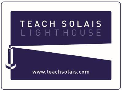 Purple Clapper Board Logo with Teach Solas in Text