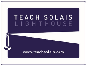 Purple Clapper Board Logo with Teach Solas in Text