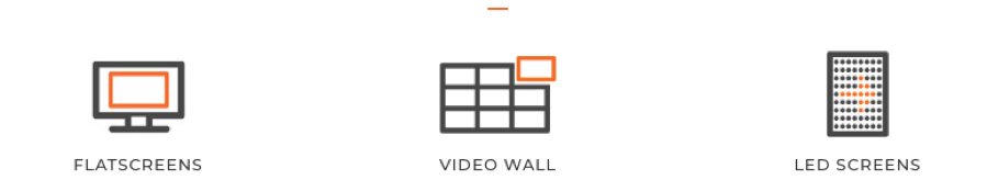 Small graphic depictions of Flatscreens and video wall
