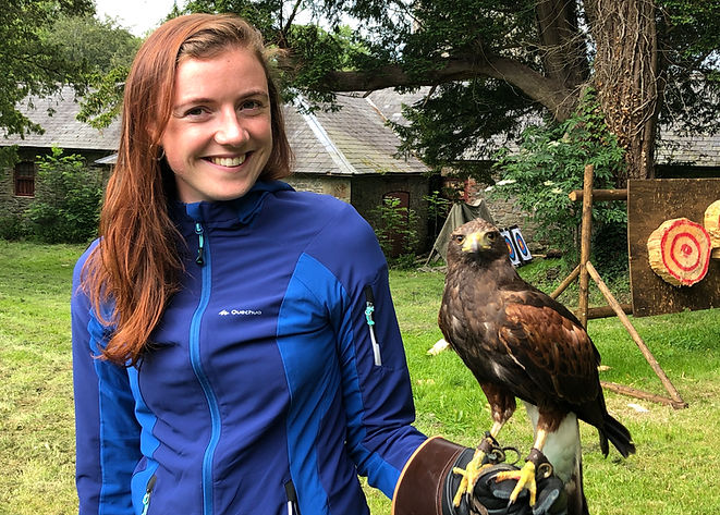 Picture of P.A Niamh holding Falcon