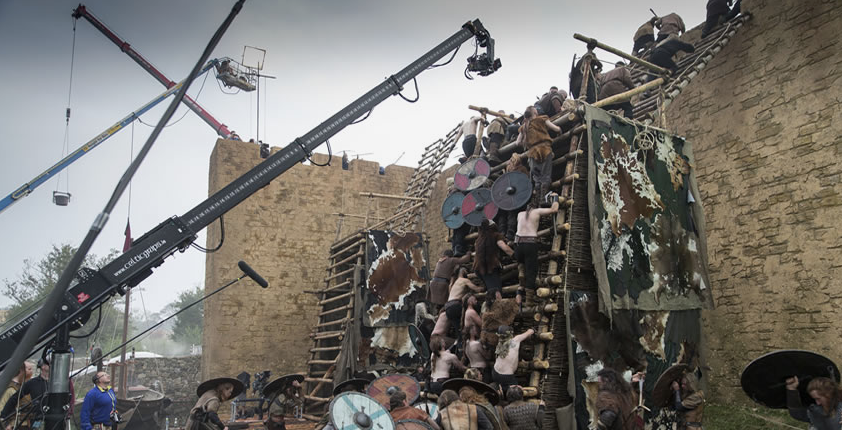 Castle wall battle scene with camera crane filming