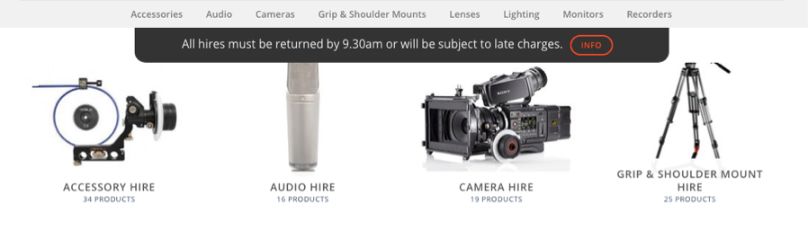 Camera equipment with overdue warning banner at top