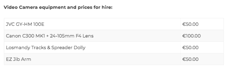 Galway Film Centre Film Equipment Hire Price List