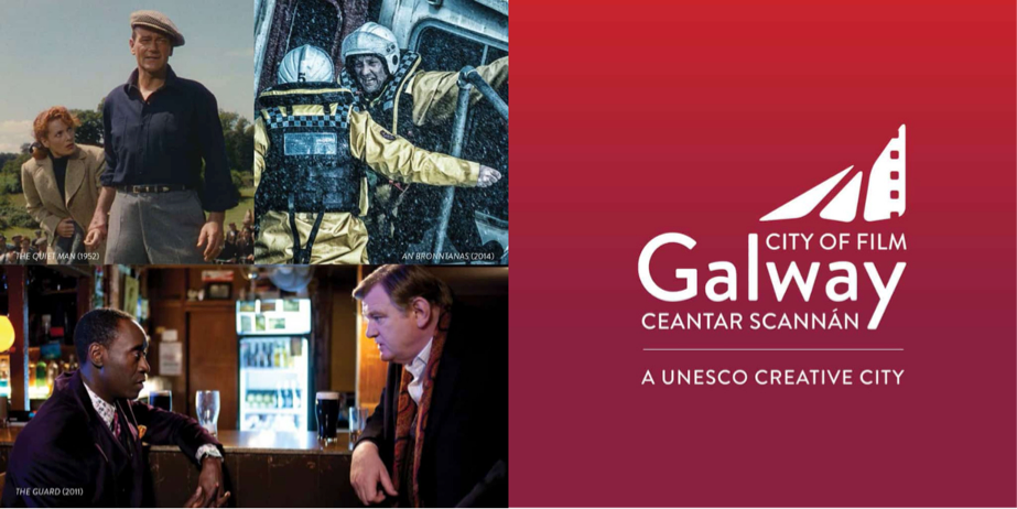 A graphic made up of film stills shot in Galway, Unesco Creative City