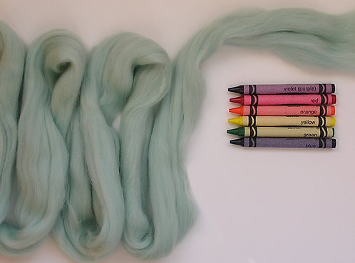 Spearmint Merino Wool Roving   1 oz