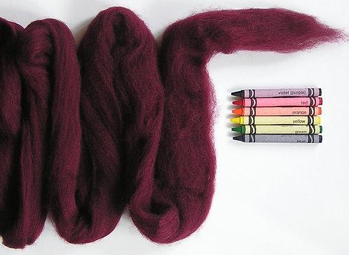 Deep Maroon Corriedale Wool Roving   1 oz.