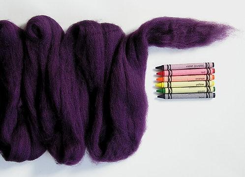 Darkest Amethyst Corriedale Wool Roving   1 oz.