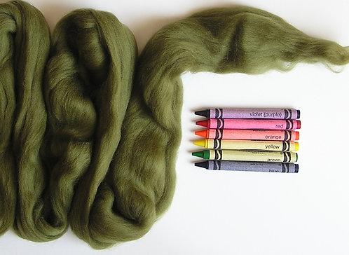 Avocado Merino Wool Roving   1 oz