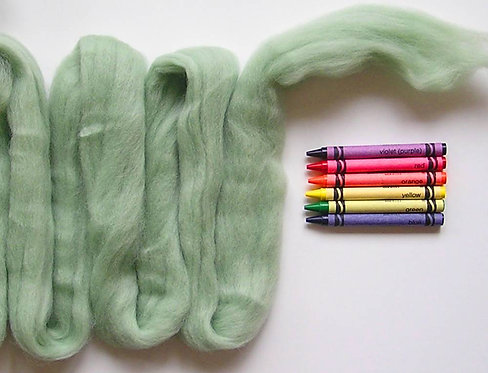 Light Sage Green Corriedale Wool Roving   1 oz.