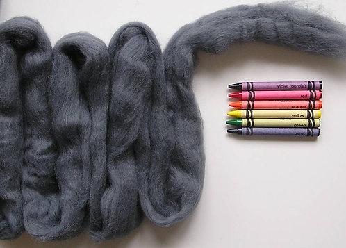 Cool Gray Corriedale Wool Roving   1 oz.