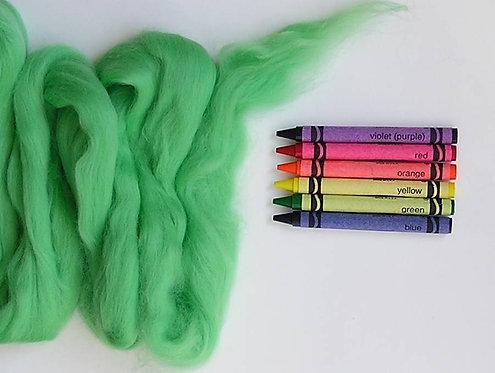 Lime Green Merino Wool Roving   1 oz