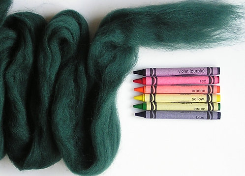 Pine Green Corriedale Wool Roving   1 oz.
