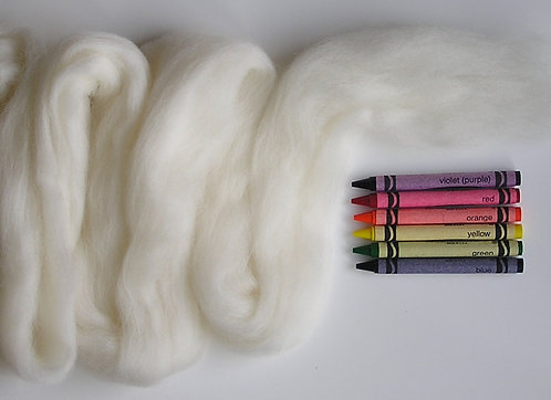 Natural White Corriedale Wool Roving   1 oz.