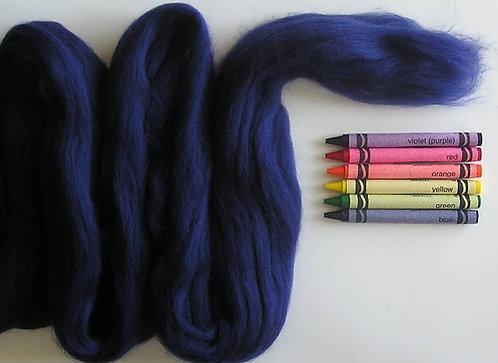 Dark Blue Merino Wool Roving   1 oz