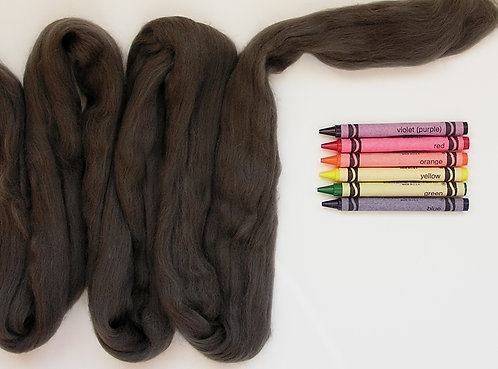 Graphite Gray Merino Wool Roving   1 oz