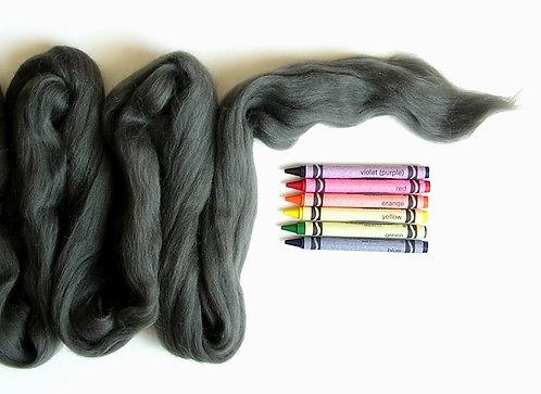 Charcoal Gray Merino Wool Roving   1 oz
