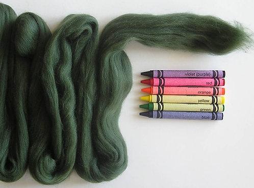Dark Organic Green Merino Wool Roving   1 oz