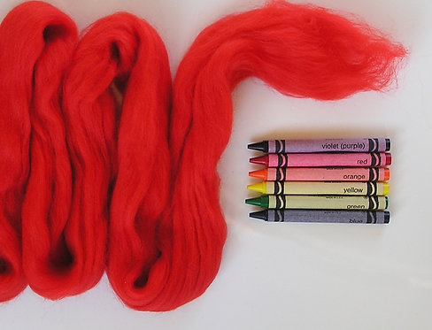 Fire Truck Red Merino Wool Roving   1 oz