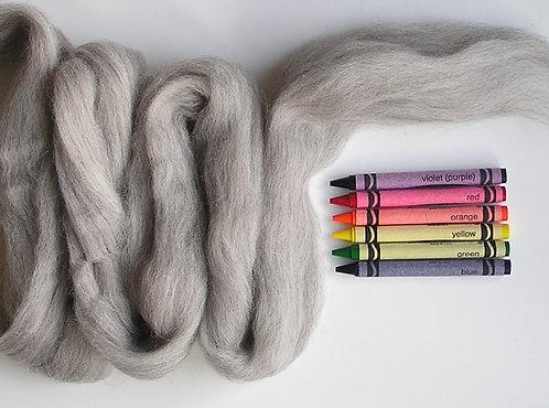 Light Natural Corriedale Wool Roving   1 oz.