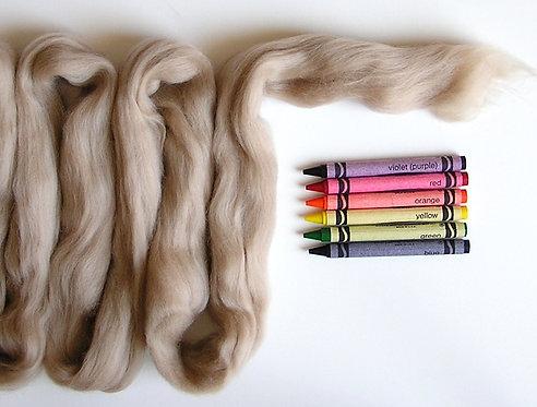 Mocha Merino Wool Roving   1 oz