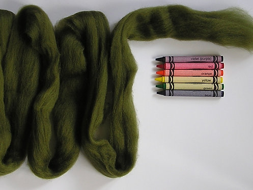 Dark Olive Corriedale Wool Roving   1 oz.