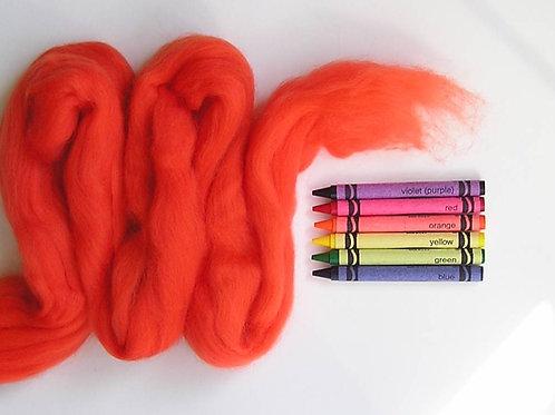 Deep Orange Merino Wool Roving   1 oz.