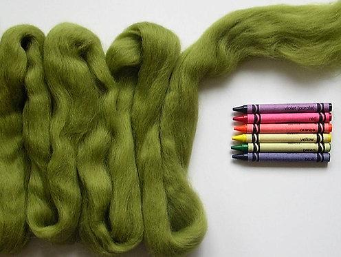Olive Green Corriedale Wool Roving   1 oz.