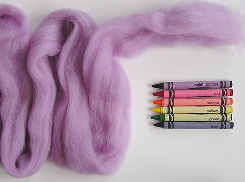 Lightest Lilac Corriedale Wool Roving   1 oz.