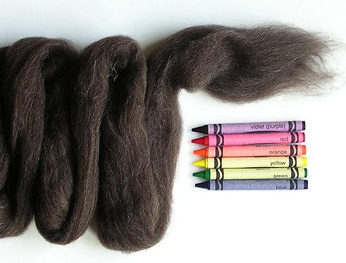Dark Natural Corriedale Wool Roving   1 oz.